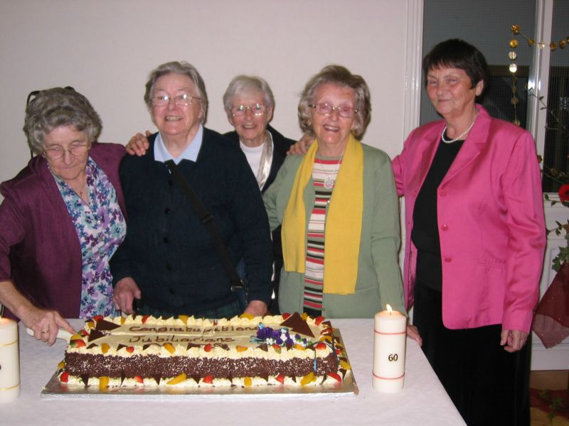 Holy Rosary Sisters who celebrated the Diamond Jubilee of their Religious Profession in 1952 L-R Sisters Breda Bird, Marie Mulvey, Zita Cox, Kathleen Kavanagh, Noirin Walsh